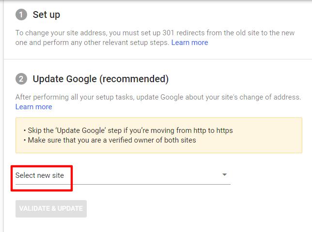 اعلام تغییر دامنه در کنسول گوگل
