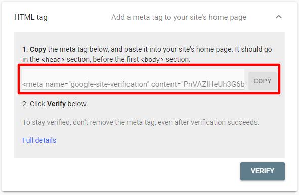 تگ html برای تاییدیه در گوگل سرچ کنسول