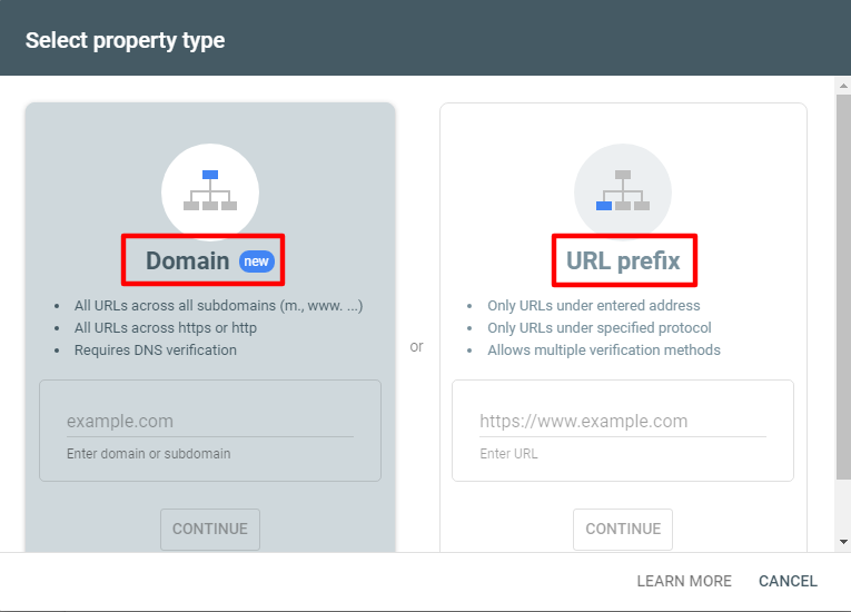 انتخاب پراپرتی هنگام ثبت سایت در گوگل سرچ کنسول